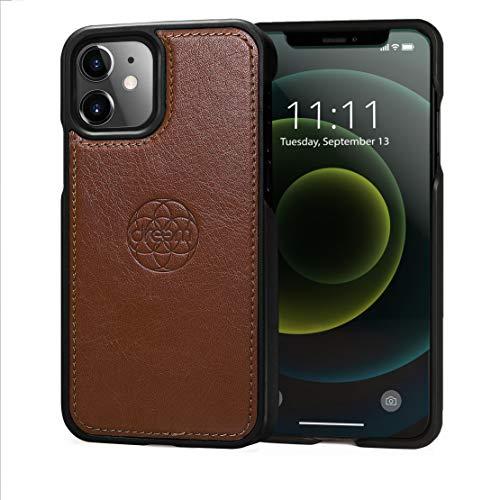 dreem Fibonacci Luxe Veganistische Lederen Case voor iPhone 12 Mini, Slanke, schokbestendige TPU-hoes, Perfect voor magnetische bevestigingen, geschenkdoos - Chocolade