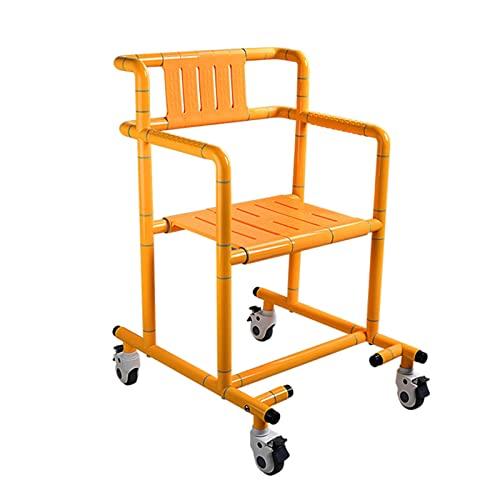 Sillas para ducha con ruedas, Silla con WC, Silla inodoro para minusválidos, Asiento ergonómico, Silla de ruedas para transporte de pacientes, Facilita el traslado de usuarios(Color:yellow) 🔥