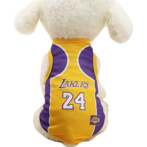 Irinay Ropa para Perros Camiseta De Baloncesto NBA Chic Disfraz De Perro Leotardo Piel Perro Gato Lakers Amarillo M Decoración Moda Linda Accesorios para Mascotas Productos