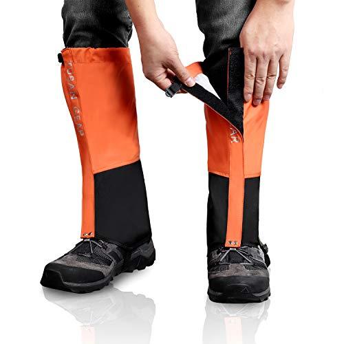 Outdoor Gamaschen, wasserdichte Staubdicht Einstellbare Atmungsaktive Beinschutz Gaiter für Outdoor-Hosen zum Wandern, Klettern,Trekking, Schneewandern 1 Paar (Orange, XL)