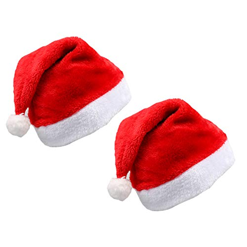 Christmas Hat, Santa Hat, 2PCS Classic Christmas Hats for Adults Santa Hat Unisex Plush Trim for Christmas Party New Year Festive Holiday Party Supplies