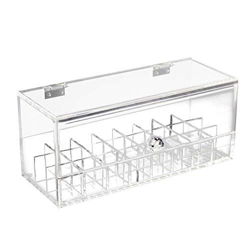 Ablerfly - Caja transparente de acrílico para pintalabios de maquillaje, caja de almacenamiento para lápiz labial a prueba de polvo, ahorra mucho espacio