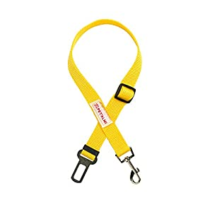 PET'ALMI Car Seatbelt for Dog Car Seat Belt for Pets Adjustable Labrador Safety Belt Quick & Easy Leads Installation with Any Pet Harness Through Swivel Carabiner Strong Yellow Seat Belt