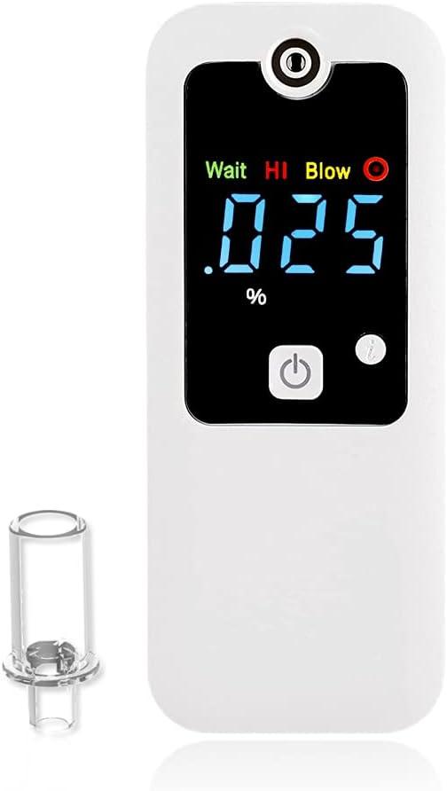iBACheck Alcoholímetro Digital con Pantalla LED. Alcoholímetro Recargable con de bajo Consumo energético. Operación Simple y fácil de Usar (Blanco)