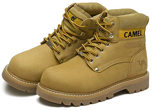 CAMEL CROWN Women's Leather Work Boots Soft Toe Work Shoes Combat Boots Platform Industrial Boot Construction Shoes Gold 9