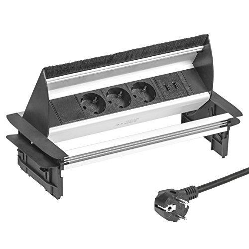Elbe versenkbare Tischsteckdose mit 2xUSB, Steckdosenleiste mit USB Buchse, Einbausteckdose aus Alulegierung, Mehrfachsteckdose, Kindersicherung, 1,5m Kabel, für Büro, Werkstatt, Küche