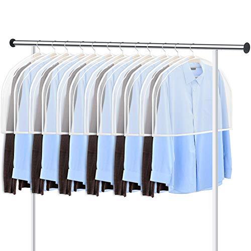 KEEGH GarmentShoulder Covers Bag(Set of 12) Breathable Closet Suit Organizer Prevent Clothes Shoulder from Dust, 2' Gusset Hold More Coats, Jackets, Dress