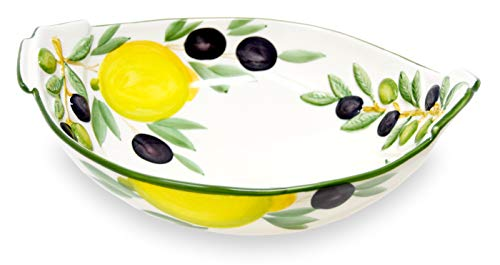 Lashuma Tiefe Keramikschüssel, Servierschale bemalt Motiv Zitrone - Oliven, Runde Salatschale Größe 27 x 21 cm