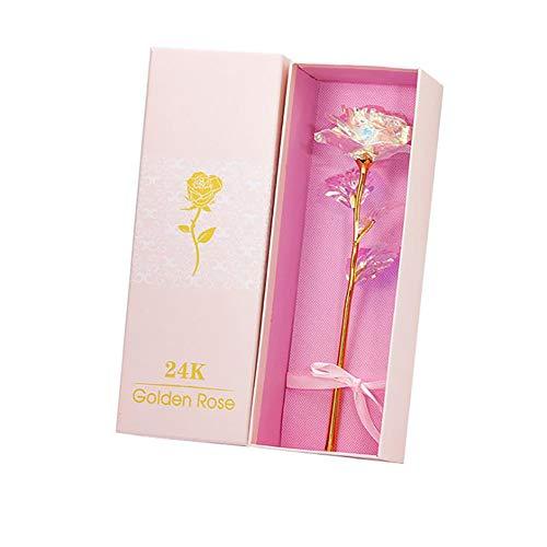 Nullnet 24 Karat vergoldete Rose, 24 Karat Bunte Rose leuchtende künstliche Rose zum Valentinstag Erntedankfest Muttertag, Liebhaber Geschenk Home Ornamente