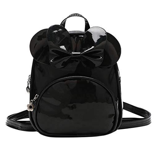 AIni Kinder Rucksack Kinder Kind Mädchen Mode Solide Schule Schulter Handtasche Rucksack Tragetaschen Rucksäck Kinderrucksäcke Schwarz