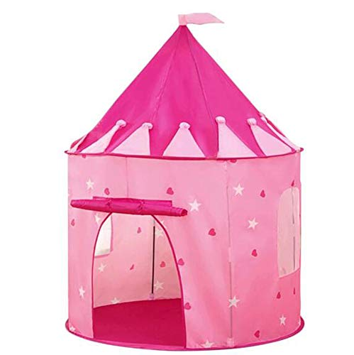 F.TG Play Tent for kids children toddler castle foldable, indoor & outdoor Play house house Easy to Install,Plush pad + small bunting + night light/Pink