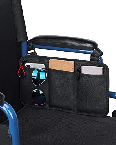 kemimoto Wheelchair Side Bag, Armrest Pouch Bag Ideal Gift for Mother's Day, 5 Pockets Storage Organizer for Electric Wheelchair, Walker, Rollator