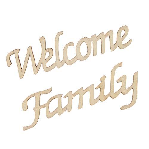 Baoblaze Bienvenue Famille Artisanat en Bois Pièces en Bois Fabrication De Cartes Bricolage Art Décoration