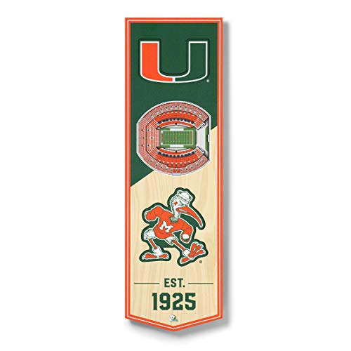 YouTheFan NCAA Miami Hurricanes 3D StadiumView Banner 6x19