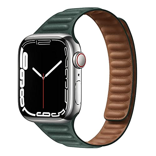 Correa de Reloj Delgada Compatible para Apple Watch Band 45mm 44mm 42mm 41mm 40mm 38mm Bucle de Cuero, Correa de Cuero Magnética Fuerte Compatible para iWatch Series 7/6/5/4/3/2/1/SE, Tinta Verde