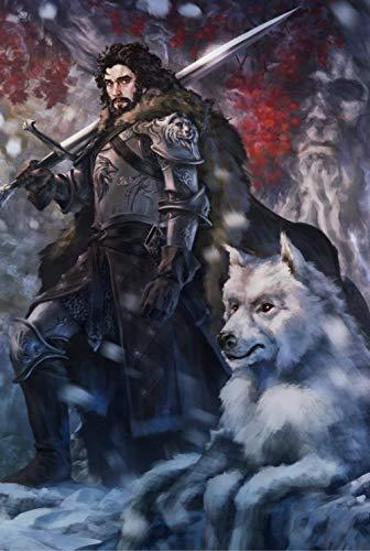 EXking Snow Hunter White Wolf Rompecabezas para niños Adultos, Grandes Pinturas intelectuales educativas Juego de Rompecabezas Juguetes Regalo para Juegos Decoración de la Pared del hogar