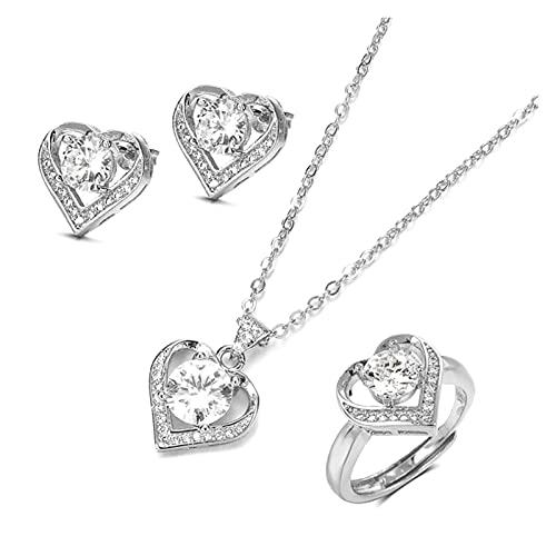 DSJTCH Juego de joyería de Oro de Oro de 18k Anillo de Anillo Pendiente Pendiente Silver Silver Navidad Día de San Valentín Regalo para Mujer (Gem Color : Silver Color, Ring Size : Resizable)