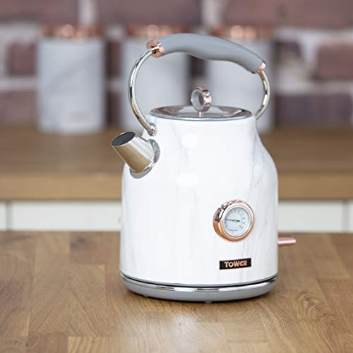 Tower Bottega T10020WMRG Rapid Boil Traditional Kettle with Temperature Dial, Boil Dry Protection, Automatic Shut Off, Quiet, Stainless Steel, 3000 W, 1.7 Litre, Marble and Rose Gold