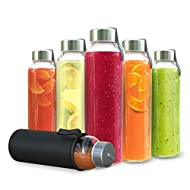 Chef's Star 18 Oz Glass Water Bottles, Glass Drinking Bottle with Protection Sleeve, Juice Bottles with Stainless Steel Leak Proof Lids, Pack of 6