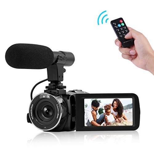 Camcorder Digital-Videokamera, Camcorder mit Mikrofon WiFi IR Nachtsicht Full HD 1080P 30FPS 3' LCD Touchscreen Vlogging Kamera mit Fernbedienung