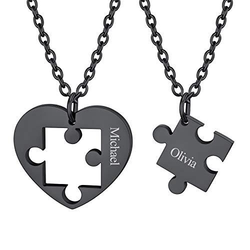 Richsteel Colgante Negro de Corazone Collar Puzzle Bff para 2