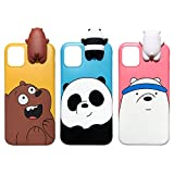 Aikeduo for iPhone 11 6.1 inch 3D Cartoon Animals Cute We Bare Bears Soft Silicone Case Cover Skin 3pcs Sell for iPhone 11 case (iPhone 11)