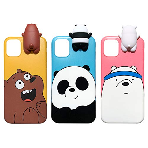 AiKeDuo for iPhone 12 Pro Max 6.7 inch Panda Case 3D Cartoon Animals Cute We Bare Bears Soft Silicone Case Cover Skin 3pcs Sell for iPhone 12 Pro Max Girls Case (iPhone 12Pro Max 6.7)