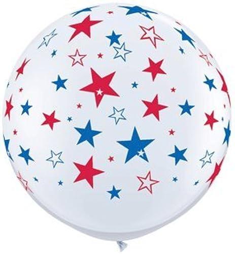 punto de venta barato 36 Inch rojo & azul Stars On blanco Latex Latex Latex Balloons by Qualatex  marca