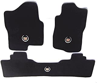 Avery's Floor Mats Part Compatible with Cadillac Escalade (Base) 3PC Custom Fit Carpet Set Black-GM Cadillac Logo on All 3 Fits 2007-2014 w/2nd Row Bench
