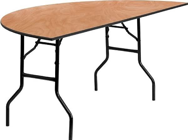 Flash Furniture 72 Half Round Wood Folding Banquet Table