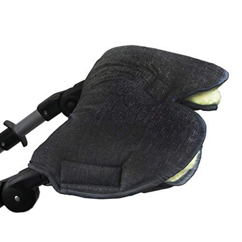 BAMBINIWELT universele muff/handwarmer voor kinderwagen, buggy, jogger met wol, gemêleerd zwart