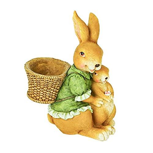 Estatua de jardín Adornos de resina impermeables al aire libre Creatividad Adornos de jardín Figuras Conejo, Resina resistente a la intemperie Figuras de conejos Conejos para la decoración del