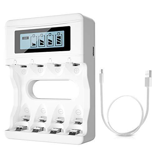 BONAI LCD Cargador de Pilas para AA AAA Ni-MH Ni-CD Pilas Recargables, Universal Cargador Pilas