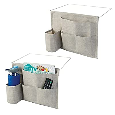 mDesign Bedside Storage Organizer Caddy Pocket - Slim Space Saving Design, 4 Pockets - Heavy Cotton Canvas - Holds Water Bottles, Books, Magazines - 2 Pack - Light Gray/Wire Insert in Satin from MetroDecor