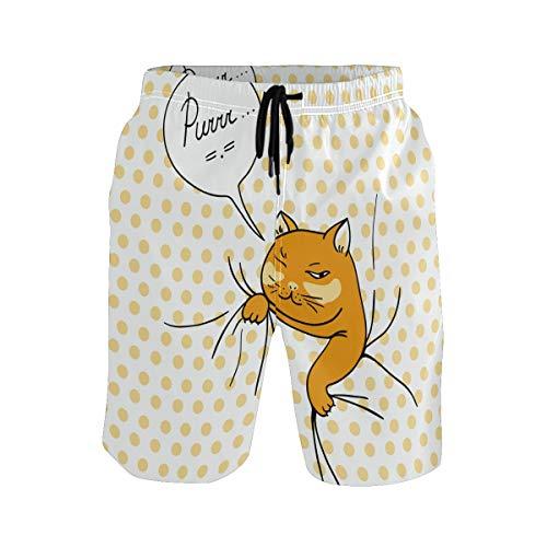 Bonipe - Bañador para hombre, diseño de gato espía, secado rápido, con cordón y bolsillos Multicolor multicolor XXL