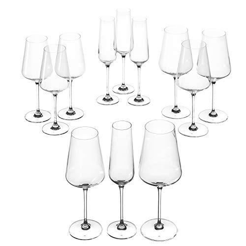 Leonardo Puccini Kelch-Glas Set, 12er Set, Weißwein-, Rotwein- und Sekt-Gläser, spülmaschinenfeste Kelch-Gläser, Sekt- und Weingläser-Set, 069525