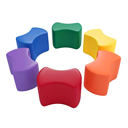 ECR4Kids Toddler Modular Stool Set, Butterfly Shaped Foam Seats, Child Size Stool, Colorful Flexible Seating, Homeschool Learning, Daycares and Classroom Furniture, 6-Piece - Assorted
