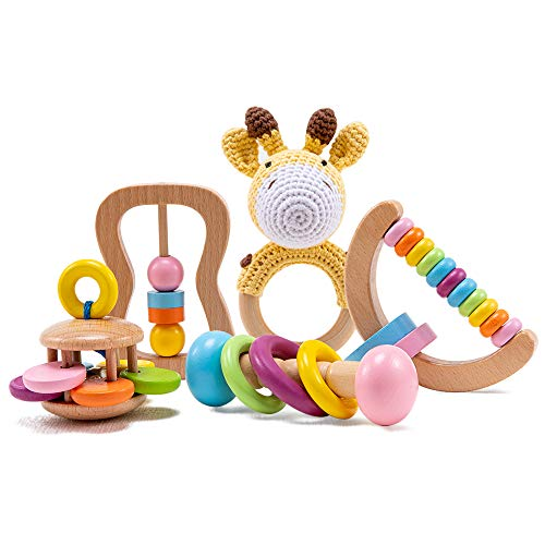 bopoobo 5 PCS Organic Wooden Toys Toddler, Wood Baby Rattle Montessori Toys for Toddlers, Grasping Wooden Baby Teething Toys Set, Natural Teethers Newborn Toys Gift Unisex Babies