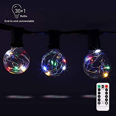 G40 Dimmable Globe String Lights Remote, 30LED Bulbs 32.8ft Indoor/Outdoor String Lights Linkable Waterproof Patio Party Wedding Gazebo Backyard Bedroom Decor