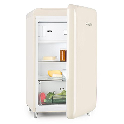 Klarstein PopArt - Frigorífico combi, Compartimento para verduras y botellas, 2 estanterías, Bandeja huevera, Diseño retro, Eficiencia energética E, Nevera 108L, Congelador 13L, Crema