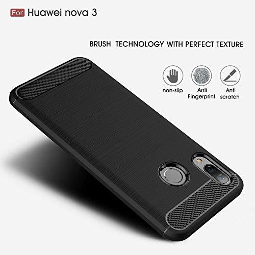 Toppix für Huawei Nova 3 Hülle, Handyhülle TPU Soft Case Silikonhülle mit Carbon Optik [Hitze-Dispersion] Backcover Schutzhülle Cover für Huawei Nova 3 (Schwarz) - 3