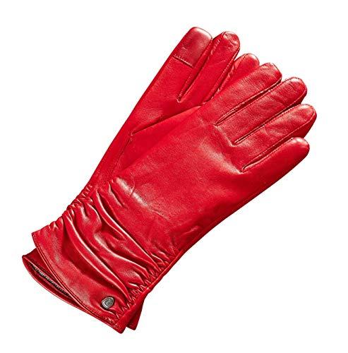 AKAROA ESTD 2019 Lederhandschuhe Damen BEA, italienisches Haarschafleder, Touchfunktion, Strickfutter aus 50% Kaschmir und 50% Wolle, rot M