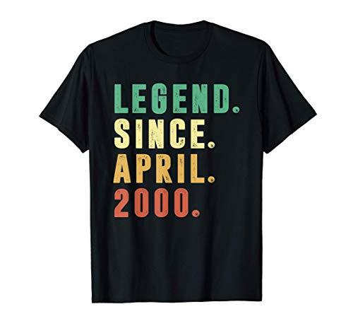 Vintage April 2000 Retro 21 Years Old 21st Birthday Boys T-Shirt