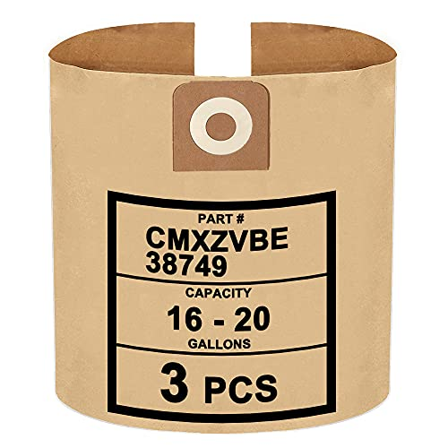 3 Pack CMXZVBE38749 Compatible with CRAFTSMAN 16 and 20 Gallon Wet/Dry Vac Dust Collection Bags Part # 38749, General Purpose Vacuum Filter Bags