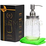 Shmitberg Mason Jar Soap Dispenser - with Non Slip Cloth and Waterproof Labels - Made of 304 Rust Proof Stainless Steel Lid and Pump - Clear 16 oz Clear Ball for Multiple use.
