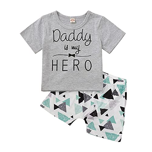 Daddy is My Hero Cotton Short Sleeve Top + Elastic Band Shorts Infant Toddler Baby Boys 2 PCs Outfit (Daddy is My Hero-Grey, 9-12 Months, 12_Months)