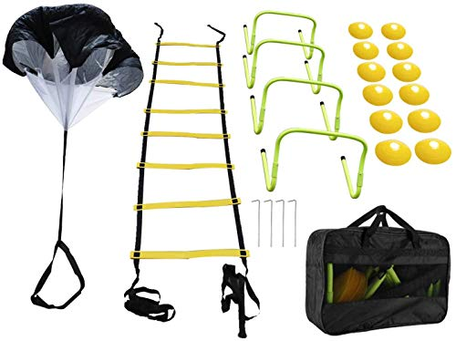 RELMON Speed Agility Training Set - Resistance Parachute, Agility Ladder with 4 Steel Stakes, Adjustable Hurdles, Disc Cones for Soccer, Hockey, Basketball,Sport Training Set - Storage Bag Included
