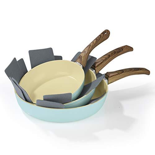 BRATmaxx Keramik Pfanne Set Induktion | Antihaft Keramikpfanne 28cm 24cm 20cm mit abnehmbarer Griff | Für alle Herdarten (inkl. Induktion) | Backofengeeignet Spülmaschinenfest | inkl. 2 Pfannenschoner