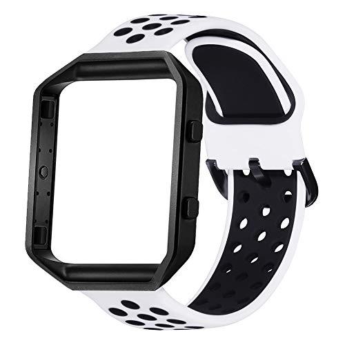 KADES Für Fitbit Blaze Armband, Silikon Sport Armband mit Edelstahl Rahmen Kompatibel für Fitbit Blaze Watch, Weiss Schwarz