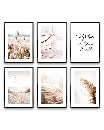 Heimlich® Tableau Décoration Murale - sans Cadres -Set de Poster Premium pour la Maison, Bureau, Salon, Chambre, Cuisine -| 6 pièces en DIN A3 (30x42cm) | » Mindful Beige Beach «